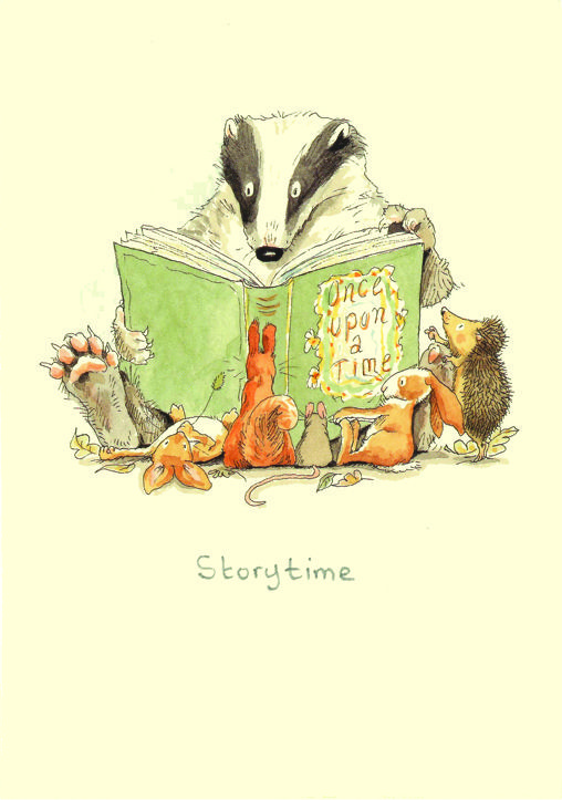 M166 Storytime by Anita Jeram  http://sunnydaypublishing.com/books/ Kind Mr Badger reading a story