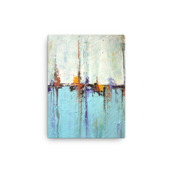 """This beauty will make a great addition to your collection. Subtle pops of golden yellow and burnt orange in a sea of light blue and white. The center """"horizon"""" line reminds the viewer of sail boats on"""