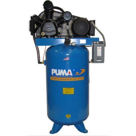 Puma Industries Air Compressor, TUE-7580VM, Professional/Commercial/Industrial Two Stage Belt Drive Series, 7.5 HP Running, 175 Max PSI, 230/1 Voltage/Phase, 80 Gallons, 600 lbs.