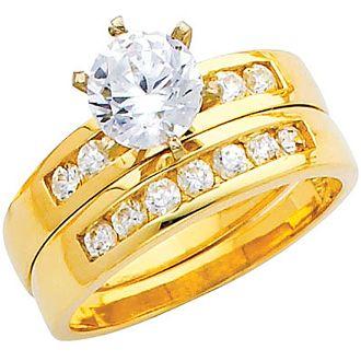 Engagement Ring and wedding band set. Yellow gold decorated with CZ.  14K | 4.9 gr. ----------------------------------------   Anillo de Compromiso y Banda matrimonial PARA dama. Oro Amarillo decorado con CZ.  14K | 4.9 gr.