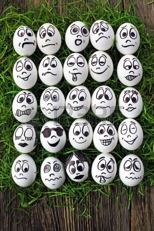 Egg faces. Would work with stones as well. To scatter between my garden plants.