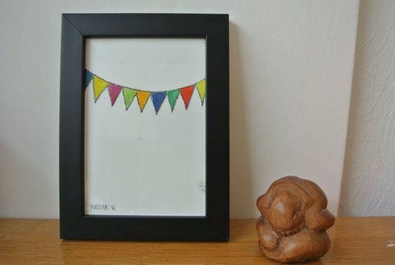 Monotype 'Feestje!' - vrolijke gekleurde slingers, enkele druk in fotolijst