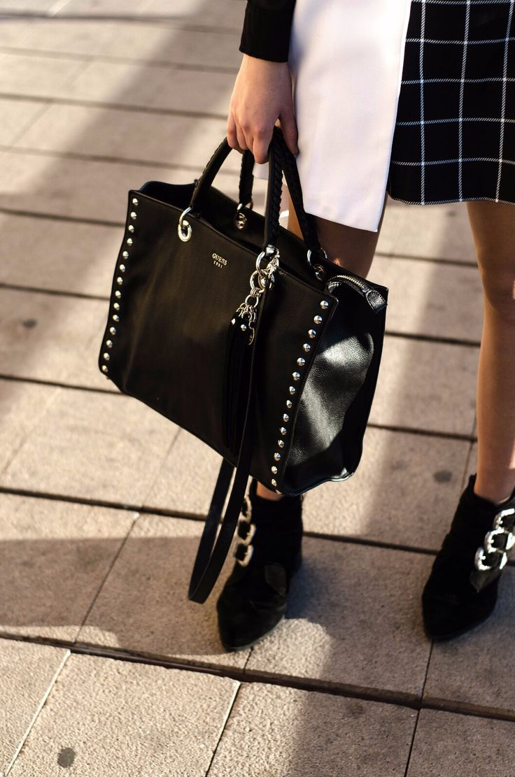 Office Style in Black and White #asos #guess #fashion #blogger #style #boots #office #black #white #blackandwhite #vest #school #bag