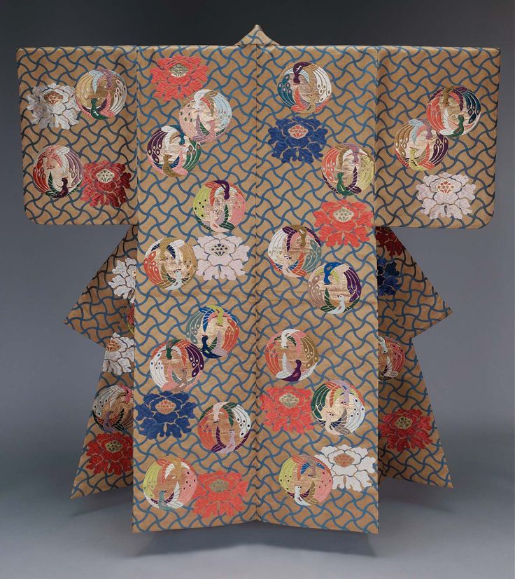 Noh theater robe (atsuita) for male role with overall design of peony and phoenix roundels in orange, purple, green, blue, pink and white silk and gilt paper discontinuous supplementary patterning wefts on a tan ground with stylized netting in blue; a reddish-orange plain-weave silk lining.