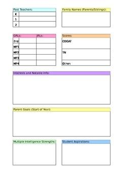 Student information sheet for a student information binder! Perfect for parent/teacher conferences and referral meetings!
