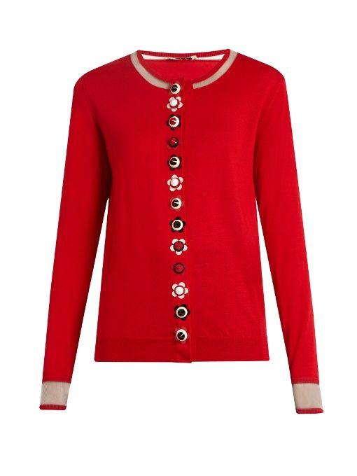 FENDI Flower-Button Cashmere-Blend Cardigan. #fendi #cloth #cardigan