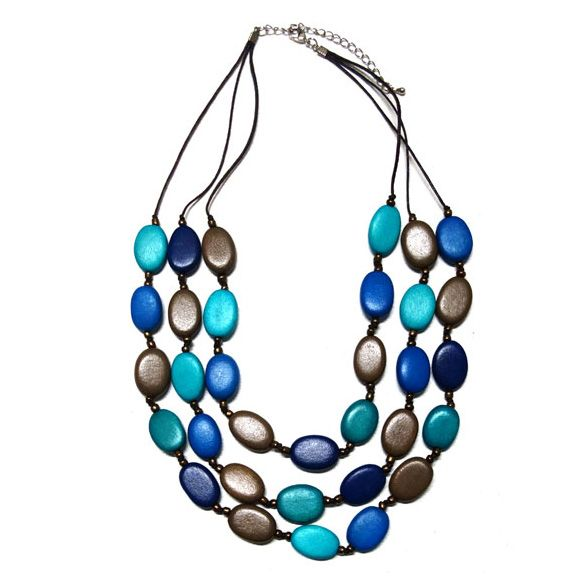 Multi-Shade Blue Layered Necklace from Melzbeads.   Necklace length is about 55…