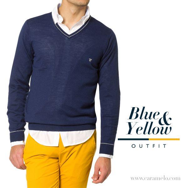 Hoy te proponemos arriesgar con este #outfit blue&yellow #moda #look #tendencias #caballero