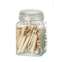 Glass Clip Top Jar With Pegs