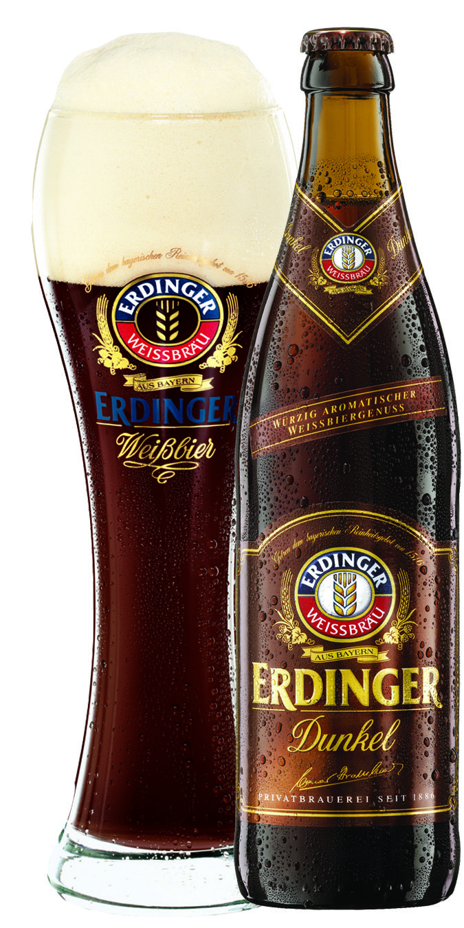 Erdinger Dunkel (Dunkelweizen) • Dark brown with a small beige head. Malty and fruity tones. Malt, chocolate, fruit and hops. Medium body with a balanced finish.
