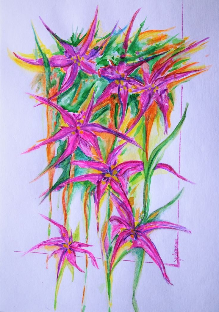 Aquarel / aquarel potlood - fantasy flowers (2)