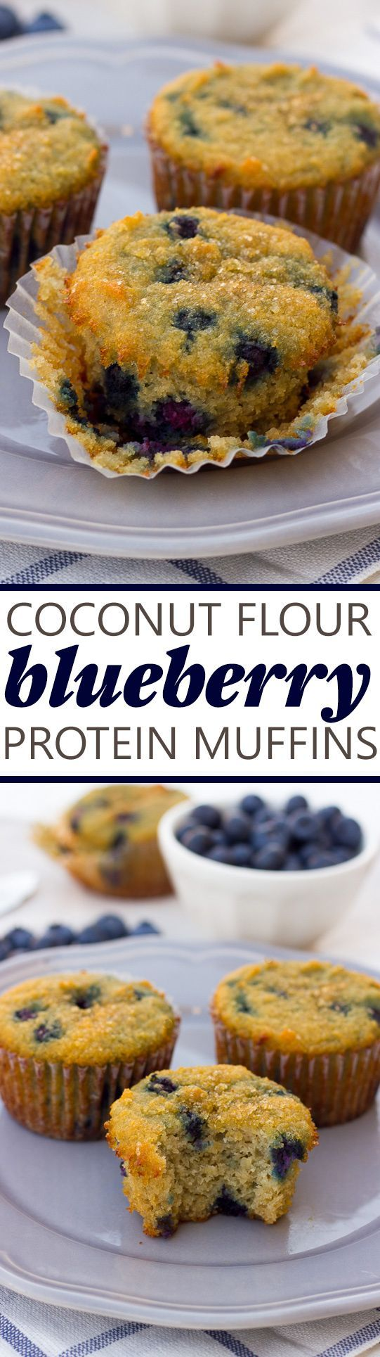 Coconut Flour Blueberry Protein Muffins! Easy, gluten-free, paleo and protein-packed muffins for busy mornings!