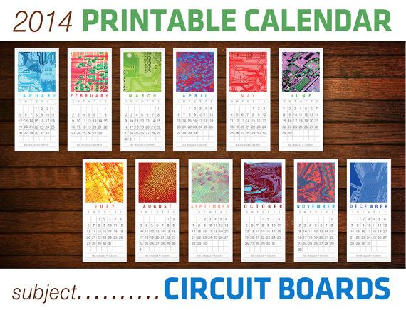 Science Circuit Board Printable 2014 Calendar  Computer by theRasilisk, $7.00