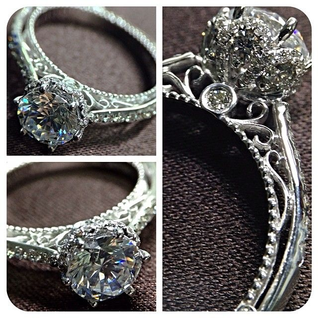 New Venetian-5052DR has an elegant look combined with the Verragio signature detail-work for a very unique engagement ring. | @Verragio