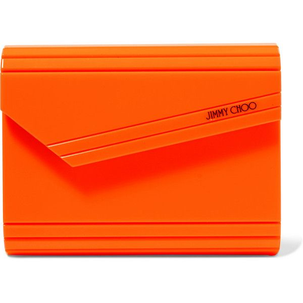 Jimmy Choo Candy neon acrylic clutch ($705) ❤ liked on Polyvore featuring bags, handbags, clutches, crossbody purse, lucite purse, neon purse, orange cross body purse and crossbody handbags