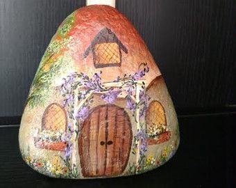 One of a kind hand painted rock cottage perfect by RockmyGarden