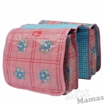 Leuke roze, geruite fietstas met blauwe bloemversiering. Van Mix Mamas. #tas #fietstas #MixMamas #Decodomus