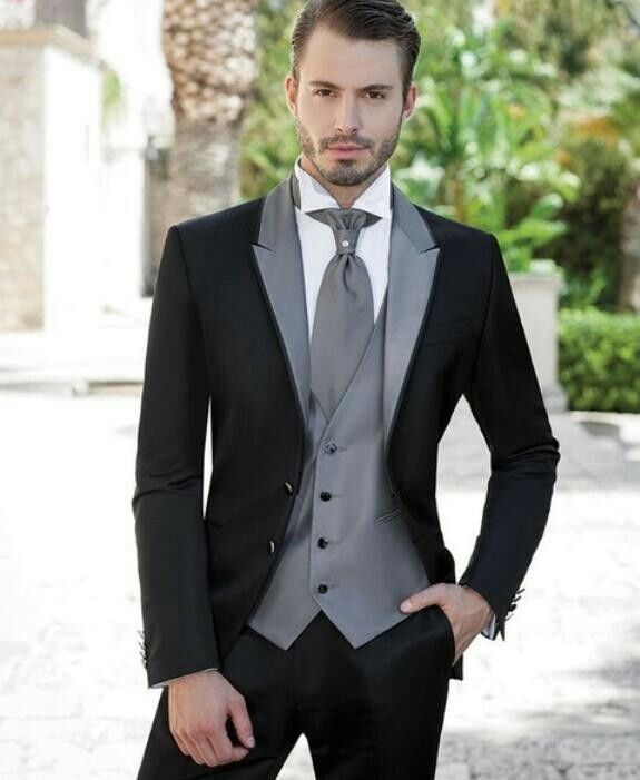 a77d768249c9 Groomsman Grey Silver Black And White Wedding Suit Idea s