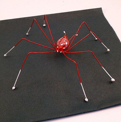 Red Spiders Two Large Wire Art Handmade by SpiderwoodHollow, $20.00