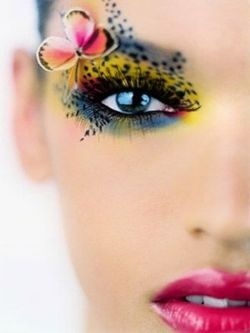 butterfly and multi-color eye makeup