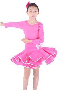 Latin Dans Kjoler Børne Træning Viskose 3/4 Ærme Længde – DKK kr. 271