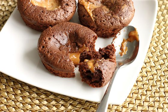 Scientifically Sweet: Molten Peanut Butter Caramel Brownie Cakes