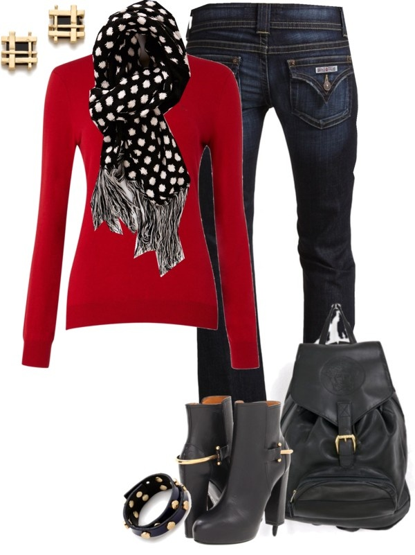 17 Best images about Outfits - Black u0026 White Polka Dot Scarf on Pinterest   Longchamp Chic ...