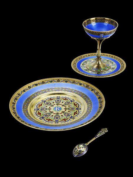 A magnificent Russian silver-gilt and enamel-decorated dessert service