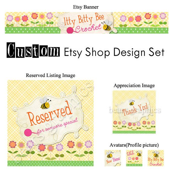 Custom Etsy Banner Avatars and Placeholder by BearsGraphicDesign, $25.00