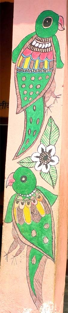 Painting on the wall by school children in Madhubani, Bihar, India