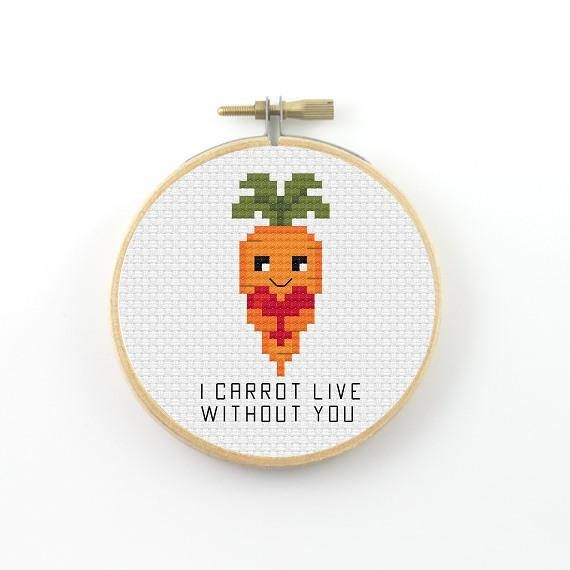 I carrot live without you cross stitch pattern carrot PDF