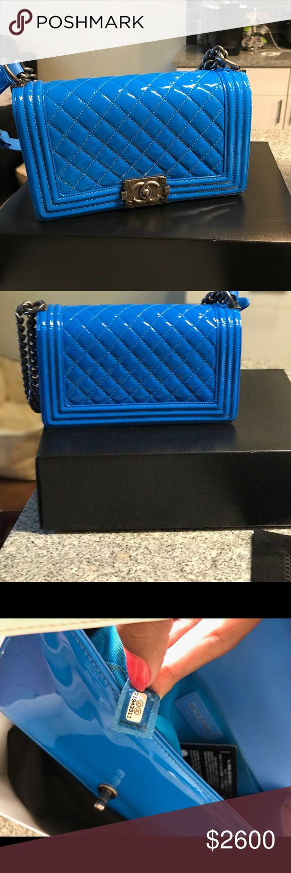 Blue Chanel Boy Flap Quilted Patent Medium Great condition. Worn maybe 4-5 times. Authentic CHANEL Bags Crossbody Bags