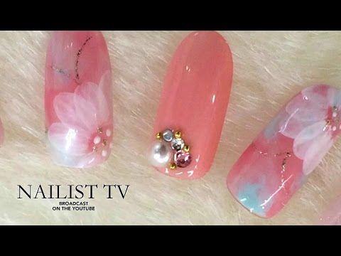 watercolor flower nail art ジェルネイル マーブルネイル 作り方NAILIST TV - YouTube