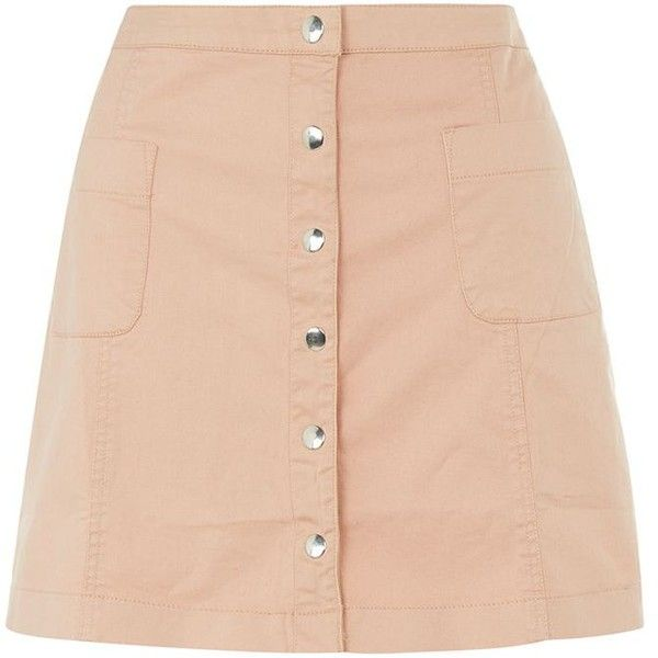 Innocence Stone Button Front Mini Skirt (18 NZD) ❤ liked on Polyvore featuring skirts, mini skirts, bottoms, camel, stone skirting, pink mini skirt, camel skirt, pocket skirt y a line mini skirt