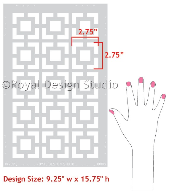 Stencil pattern for kitchen cabinets.