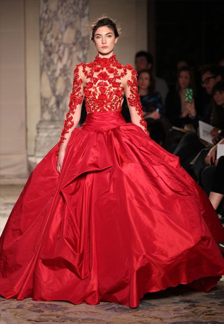 Red is a very lucky color, so why not consider this for a wedding dress? -- Marchesa 2012 Runway