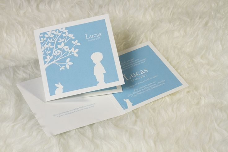 Babyblauw silhouet kaartje   Tadaaz