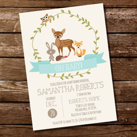 Woodland Baby Shower Printable Invitation in par SunshineParties