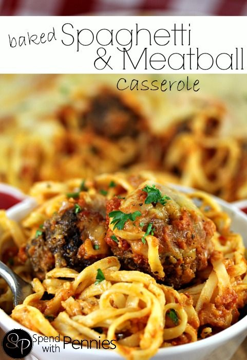 Delicious Baked Spaghetti & Meatball Casserole!  This is an easy dinner recipe!
