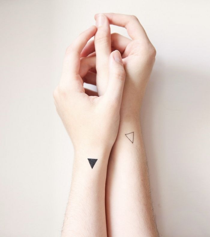 puristic tattoo ideas for love couples triangles on wrists