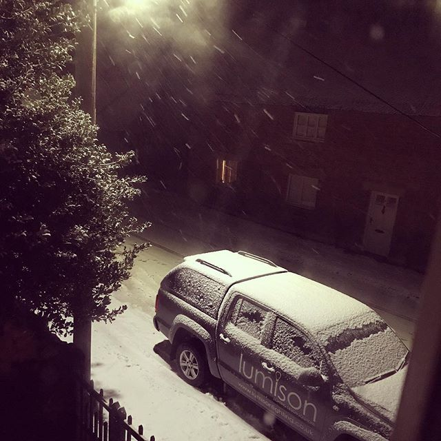 Snowy spotlight on the company wagon!! ...... Its nearly midnight .... cant believe its snowing again!  #anothersnowday #notforecast #whenwillitstop #longingforsummer #lumisonlighting #inthesnow