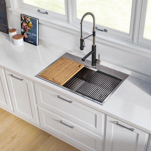 Kore Workstation 30 L X 22 W Drop In Kitchen Sink Drop In Kitchen Sink Undermount Kitchen Sinks Stainless Steel Kitchen Sink