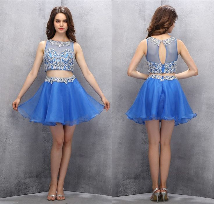 Two Piece Homecoming Dresses,Royal Blue Homecoming Dresses,Cute Homecoming Dresses,Short Prom Gown,2 Piece Prom Dresses,Sweet Dress