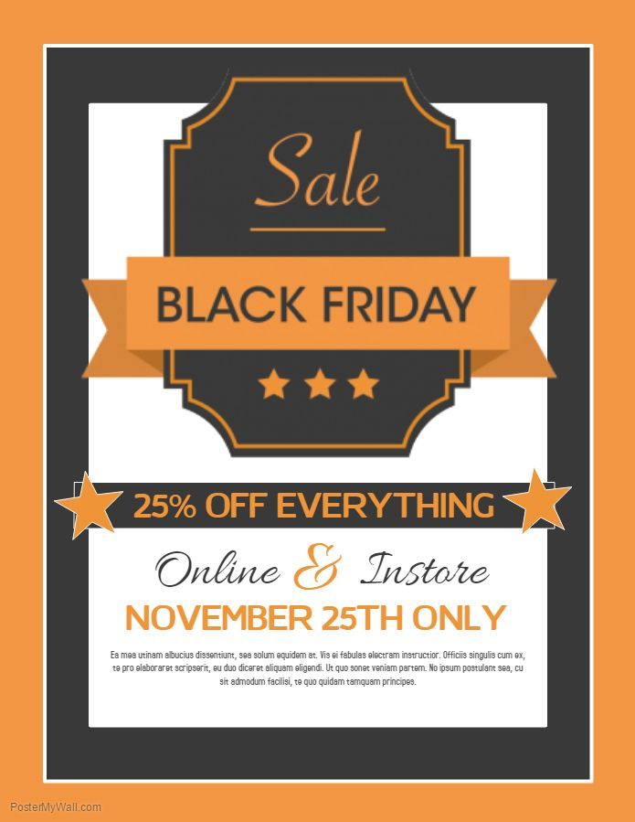 Orange Black Friday Sale Flyer Template.  Flyer Samples Templates