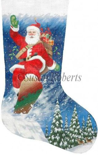 Snowboarding Santa - 18 Count Hand Painted Needlepoint Stocking Canvas