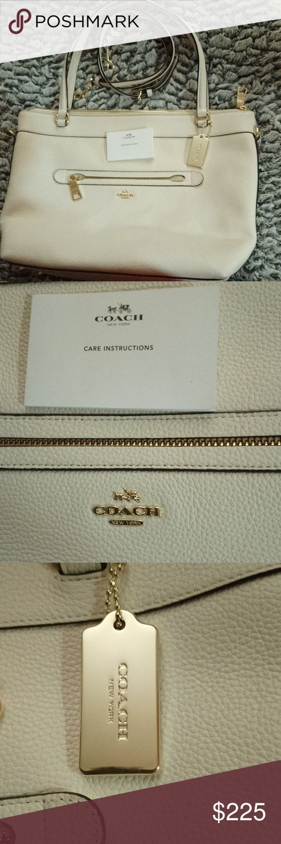 Authentic leather Large off white coach tote bag In perfect condition besides 3 tiny marks from being set down a few times. It is off white with gold hardware and brown fabric inside, 2 side open pockets and one zip inside. Comes with additional long leather adjustable shoulder strap. 1 zip pocket outside. Only used maybe 5 times around Christmas but no stains or marks to the bag besides the bottom corners in pic. No scratches on hardware. Bought full price and please no low offers.💜 All…