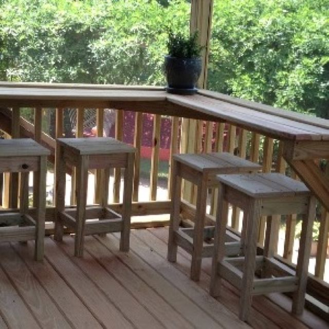 Screened in porch built-in bar with custom stools, outdoor bar saves space!