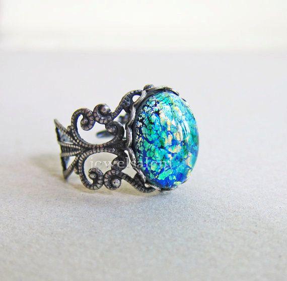 Opale di fuoco anello anello verde smeraldo stile Vintage verde opale di fuoco Ombre antico anello argento fantasia capricciosa istruzione etereo anello regalo