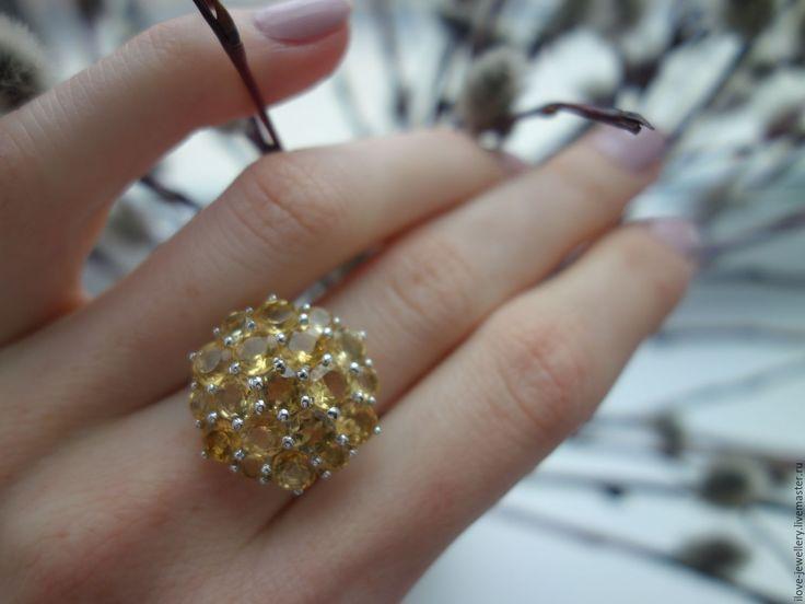 """Купить """"Harmony""""-нежное серебряное кольцо с бразильскими цитринами - желтый, кольцо с цитринами"""