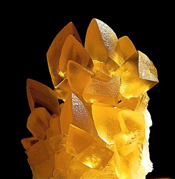 "Here's a nice 3"" piece of golden calcite from Brazil, lit with a 50 watt halogen lamp.  By howie516"